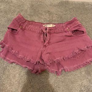 Pants - Purple cut off shorts